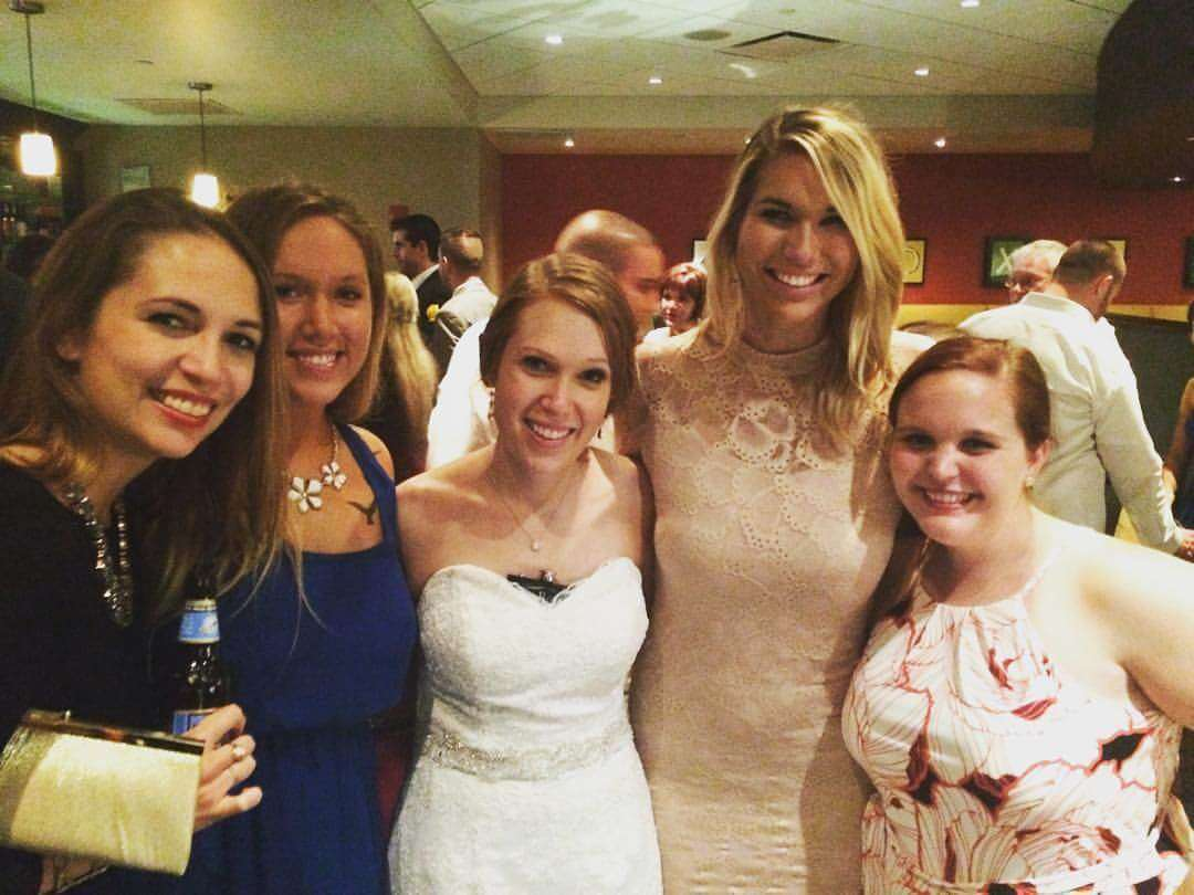Jessica Zapadka celebrating her friend's wedding.