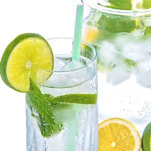 A sparkling glass of water with a touch of lime. Those with DDD must stay well hydrated.