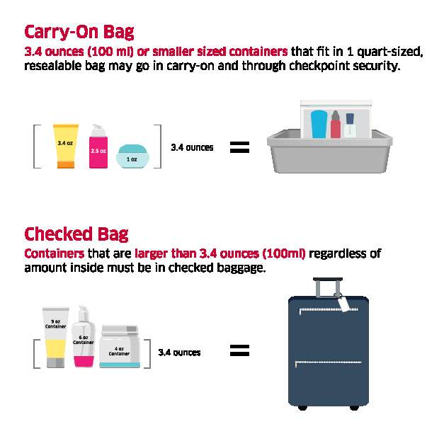 Carry-on and checked bags airline rules.