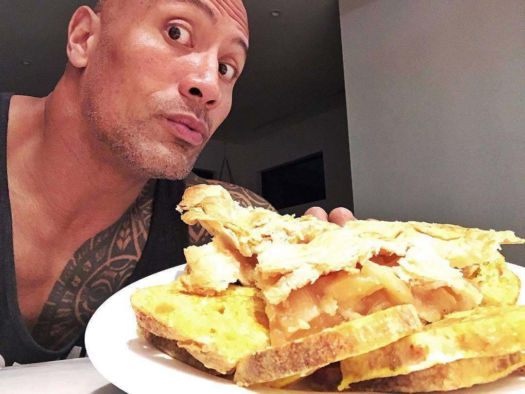 The Rock and his 8 slices of sourdough French toast.