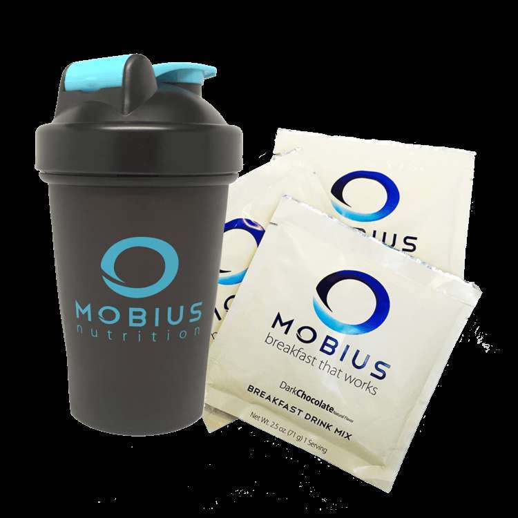 Mobius Nutrition shaker cup and meal replacement packets.