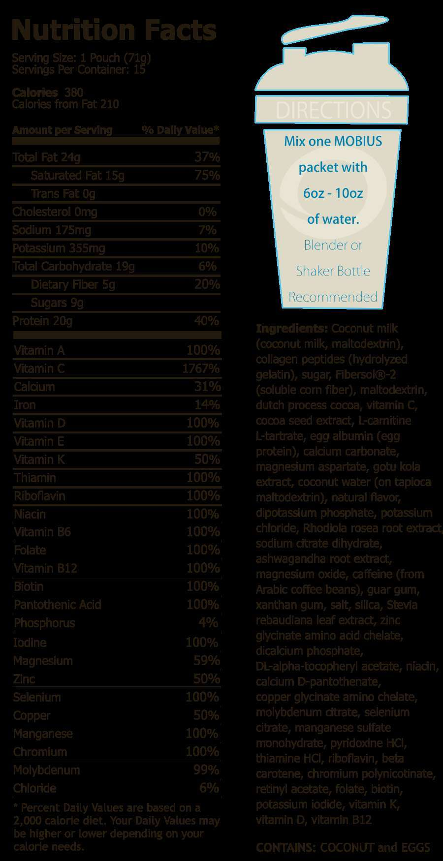 Complete nutritional information on our favorite meal replacement breakfast shake.